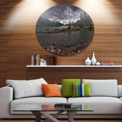 Design Art Dark Sky over Crystal Clear Lake ExtraLarge Landscape Metal Circle Wall Art