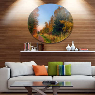 Design Art Road Through Fall Forest Extra Large Landscape Metal Circle Wall Art