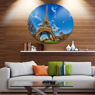 Design Art Beautiful Winter Day in Paris Disc Extra Large Metal Circle Wall Art