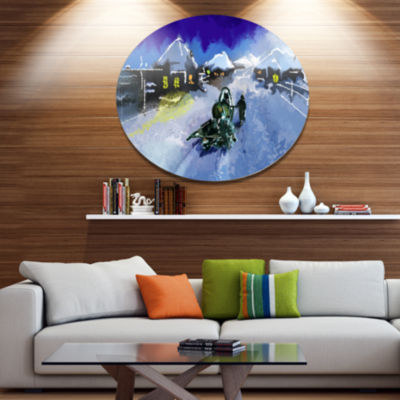 Design Art Winter Road and Night Sky Disc Extra Large Landscape Metal Circle Wall Art