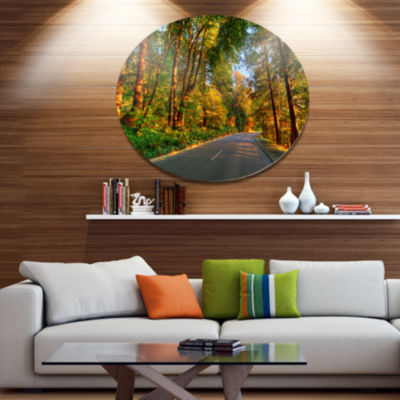Design Art Road Through Yellow Forest Extra LargeLandscape Metal Circle Wall Art
