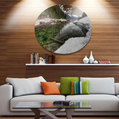 Design Art Crystal Clear Lake with Pine Trees Extra Large Landscape Metal Circle Wall Art