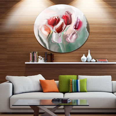 Design Art Floral Watercolor Illustration Disc Large Animal Metal Circle Wall Art