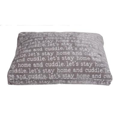 Cuddle Words Printed Flannel Fleece Pet Bed