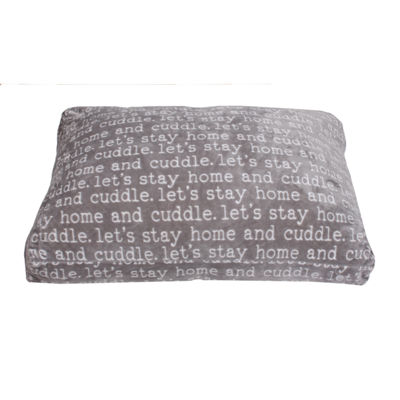 Cuddle Words Printed Flannel Fleece Dog Bed