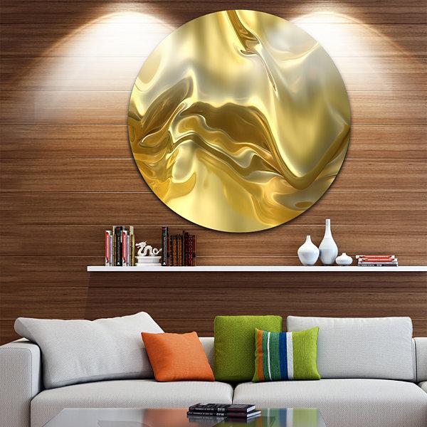 Design Art Golden Cloth Texture Abstract Circle Circle Metal Wall ...