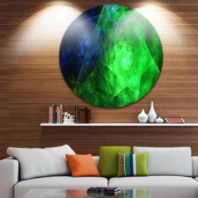 Design Art Green Rotating Polyhedron Abstract Round Circle Metal Wall Decor