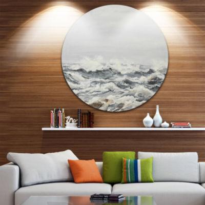Design Art Grey Sea Waves Disc Seascape Circle Metal Wall Art