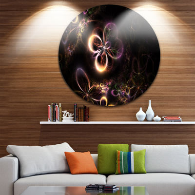 Design Art Glowing Small Fractal Flowers AbstractRound Circle Metal Wall Decor Panel
