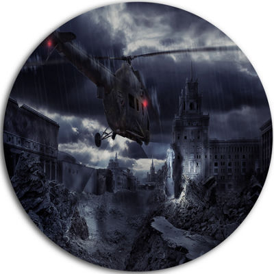 Design Art Helicopter over Storm Ruined City DiscPhotography Circle Metal Wall Art