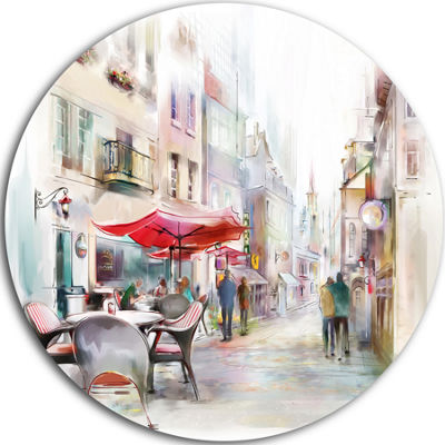Design Art Illustrated Street Art Cityscape Disc Abstract Cityscape Metal Artworks