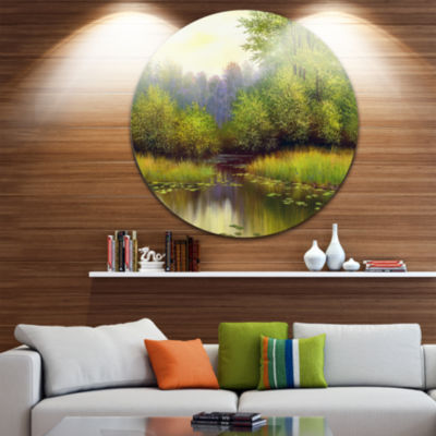 Design Art Green Summer with River Landscape Circle Metal Wall Art
