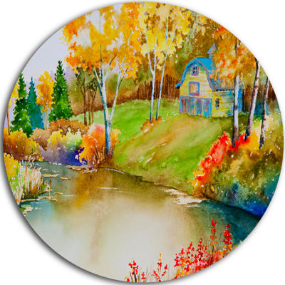 Design Art House and Quiet Pond in Fall LandscapeMetal Circle Wall Art