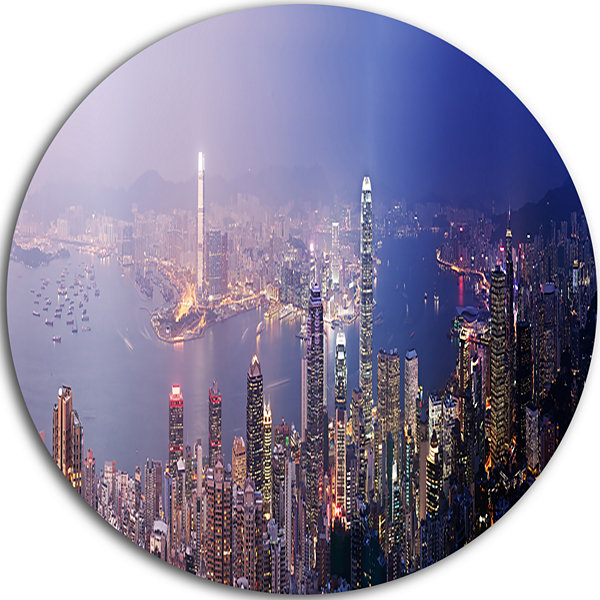 Design Art Hong Kong from Day to Night Cityscape Photo Circle Metal Wall Art