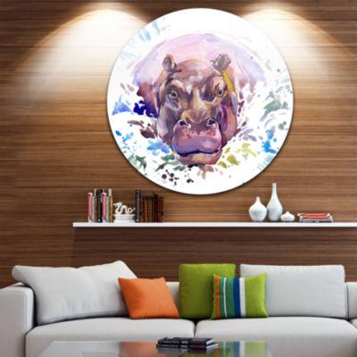 Design Art Hippopotamus Watercolor Animal Metal Circle Wall Art