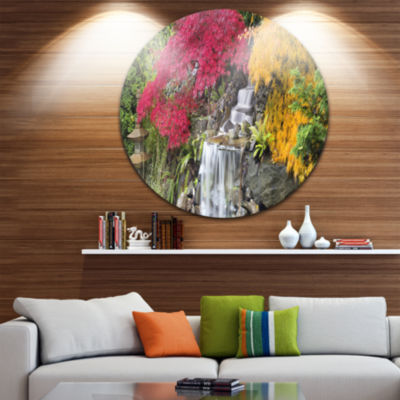 Design Art Japanese Maple Trees Disc Floral Photography Circle Metal Wall Art