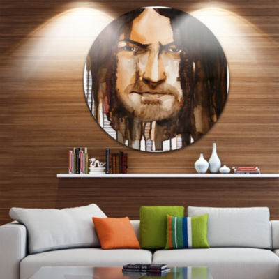 Design Art Illustrated Handsome Guy Disc AbstractPortrait Circle Metal Wall Art