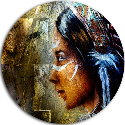 Design Art Indian Woman with Headdress Portrait Circle Metal Wall Art