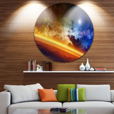 Design Art Glowing Planet Spacescape Circle MetalWall Art