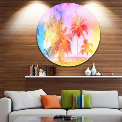 Design Art High rise Retro Palm Trees Landscape Painting Circle Metal Wall Art