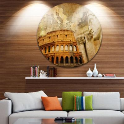 Design Art Great Roman Empire Disc Contemporary Collage Circle Metal Wall Art