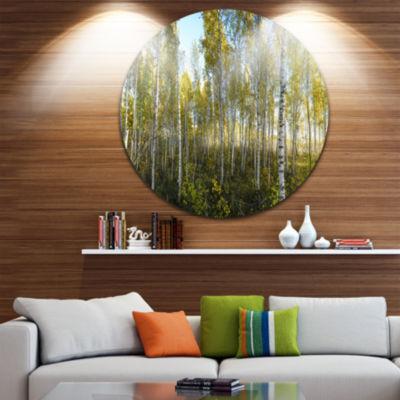 Design Art Green Autumn Trees Landscape Photography Circle Metal Wall Art