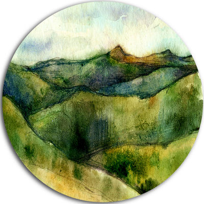 Design Art Green Mountains Watercolor Landscape Painting Circle Metal Wall Art