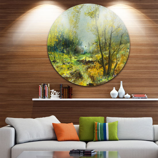 Design Art Green Yellow Deep Forest Landscape Circle Metal Wall Art