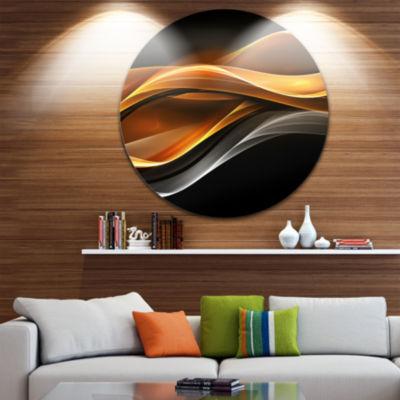 Design Art Gold Silver Inward Lines Abstract Circle Metal Wall Art