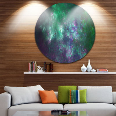 Design Art Green Starry Fractal Sky Abstract RoundCircle Metal Wall Decor