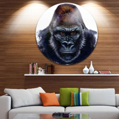 Design Art Gorilla Male Illustration Animal CircleMetal Wall Art