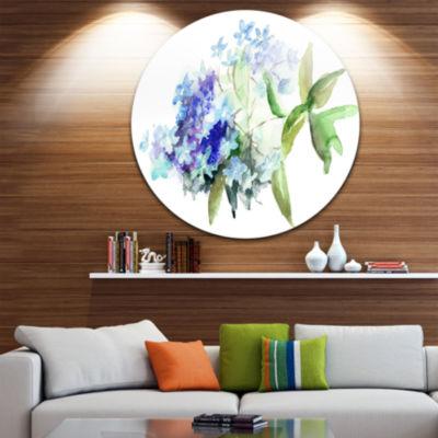 Design Art Hydrangea Blue Flowers Floral Circle Metal Wall Art