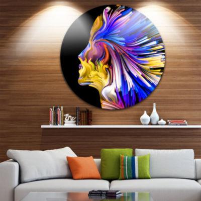 Design Art Imagination in Blue Abstract Metal Circle Wall Art