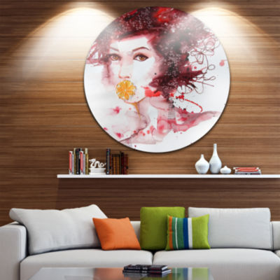 Design Art Illustrated Girl with Red Hair Disc Abstract Portrait Circle Metal Wall Art