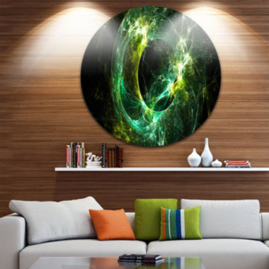 Design Art Green Sparkling Lightning Abstract Circle Metal Wall Art