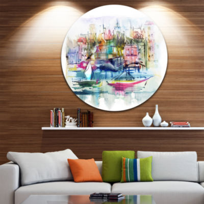 Design Art Houses and Boats Disc Landscape CircleMetal Wall Art