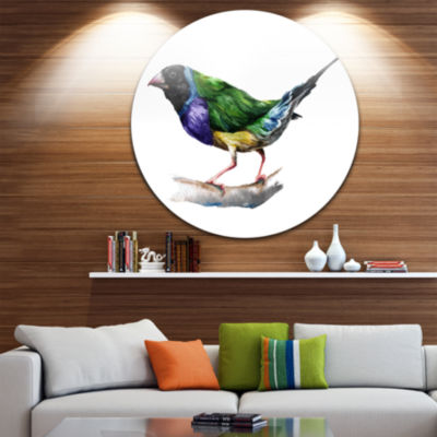 Design Art Gould Finch Disc Animal Circle Metal Wall Art