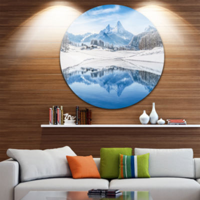 Design Art Icy Winter Mountain Alps Disc LandscapePhotography Circle Metal Wall Art