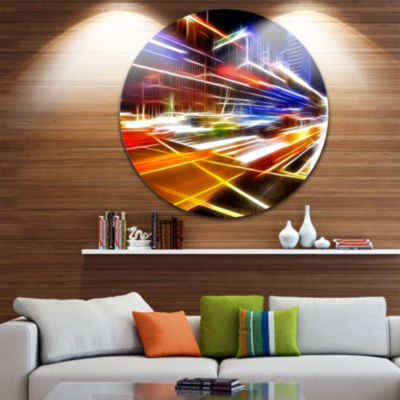 Design Art High Speed Traffic Trails Cityscape Contemporary Circle Circle Metal Wall Art