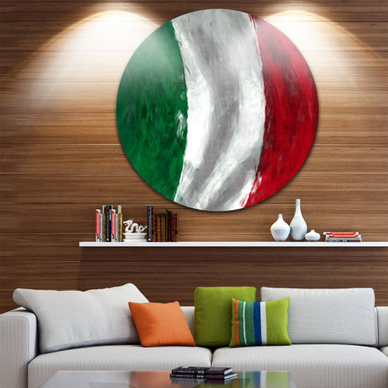 Design Art Italy Flag Disc Contemporary Circle Metal Wall Art
