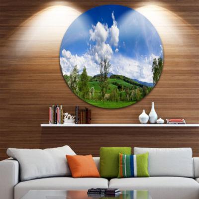 Design Art Green Blue Spring Landscape Disc Photography Circle Metal Wall Art