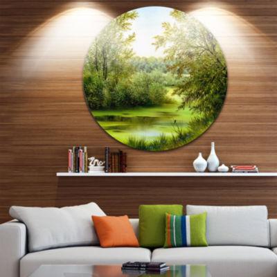 Design Art Green Summer Landscape Abstract Metal Circle Wall Art