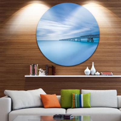 Design Art Industrial Pier in the Sea Seascape Circle Metal Wall Art