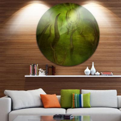 Design Art Green Time Travel Abstract Circle MetalWall Art
