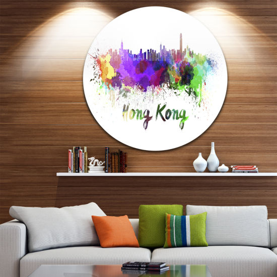 Design Art Hong Kong Skyline Disc Cityscape MetalArtwork Print