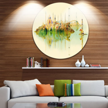 Design Art Istanbul Panoramic View Disc CityscapeWatercolor Circle Metal Wall Art