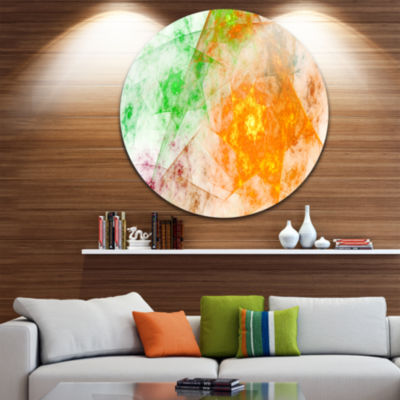 Design Art Green Yellow Rotating Polyhedron Abstract Round Circle Metal Wall Decor