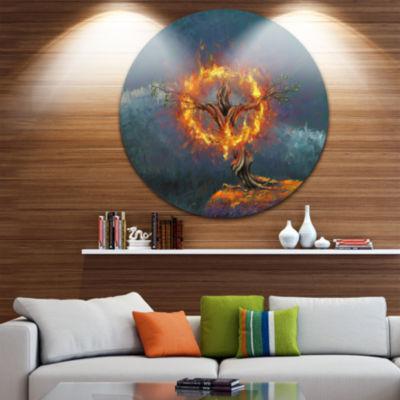 Design Art God in the Burning Bush Landscape Circle Metal Wall Art