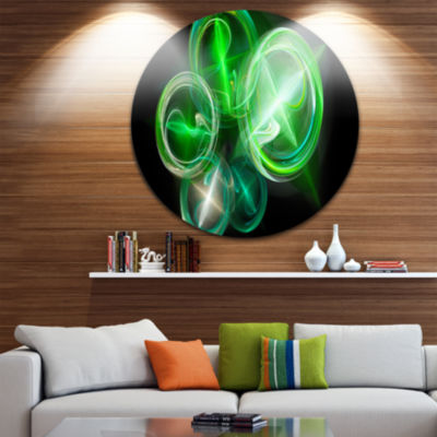 Design Art Green in Black Fractal Desktop Large Abstract Circle Metal Wall Art