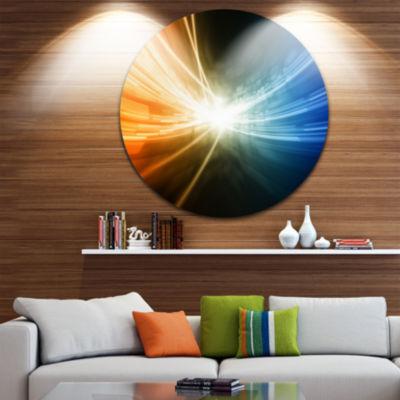 Design Art Glowing Blue Yellow Lines Abstract Circle Metal Wall Art